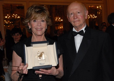 Jane Fonda et Gilles Jacob (remise de la palme, photo L'Oréal Cannes)